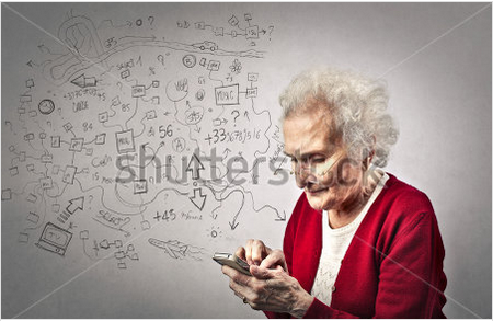 Old woman with handphone