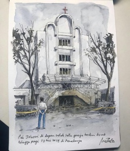 Sketsa Pak Jokowi di depan gedung gereja